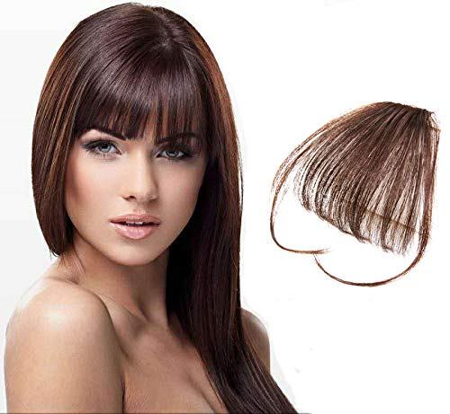 9A 100% Malaysian Virgin Clip in Bangs Human Hair Extensions Flat/Fringe Bangs with Temple LIght and Soft Hand Tied Fashion Hair Extensions for Girls (Clip in Bangs with Temple, 4/Light Brown) ()