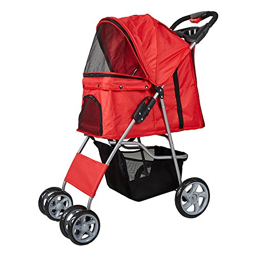 Wheeled Carriages - KARMAS PRODUCT Pet Stroller Foldable Four Wheels Pet Cart For Cats and Dogs