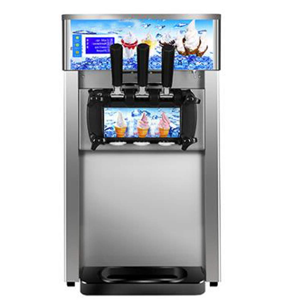 Ice Cream Machine,Funwill3 Flavor Commercial Soft Ice Cream Machine,with Auto Clean LED Panel,110V / 60Hz /1200W, Perfect for Restaurants Snack Bar supermarkets