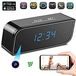 Spy Camera, AMVP Hidden Camera in Clock WiFi Hidden Cameras HD 1080P Video Recorder Wireless IP Camera for Indoor Home Security Monitoring Nanny Cam 140°Angle Night Vision Motion Detection