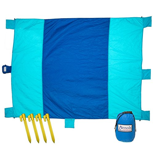 Premium Outdoor Sand Free Waterproof Beach - Picnic Blanket - 7' X 9' Portable Compact Oversized Mat - Large Zipper Pocket, Stakes + Carabiner - Sand Proof + Heat Resistant Nylon Perfect for Hiking