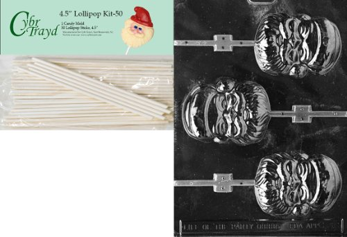 (Cybrtrayd 00045St50-C036 Santa Face Lolly Christmas Chocolate/Candy Mold with 50 4.5-Inch Lollipop Sticks)