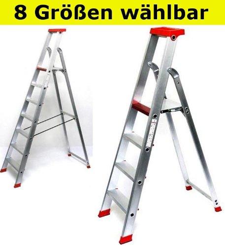 Alu Stehleiter PRO Serie - 8 Größen wählbar (3 bis 12-stufig), 3-stufig