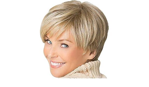 Amlaiworld Pelucas mujer Peluca rubia corta señoras pelucas naturales baratas Pelucas de pelo corto y sintético recto Pelucas llenas para mujeres Pelucas de ...