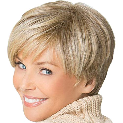 Clearance Short Straight Wig, Inkach Womens Blonde Synthetic Bob Wig as Natural Looking Heat Resistant Full Hair Party Wig (Gold)