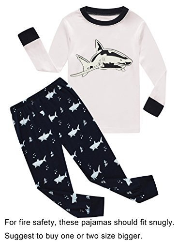 Family Feeling Shark Big Boys Long Sleeve Pajamas Sets 100% Cotton Pyjamas Kids PJS Size 10 Years White
