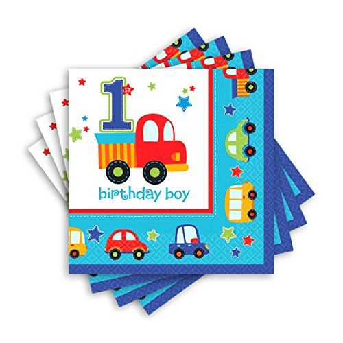 amscan All Aboard! Birthday Party Beverage Napkins Tableware, Multi Colored, Paper, 5'' x 5'' (Folded), 18-Piece