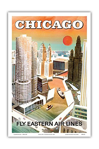 Fly Vintage Poster - Pacifica Island Art Chicago, USA - Marina City, Chicago River - Fly Eastern Airlines - Vintage Airline Travel Poster c.1960s - Master Art Print - 12in x 18in