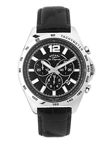 Rotary Men's gs90070/04 Analog Display Swiss Quartz Black Watch