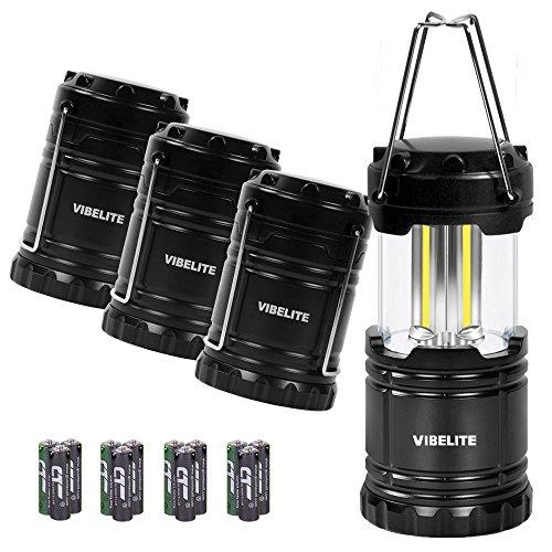 VIBELITE Led Lantern,Camping Lantern Collapsbile COB light with 12 AA Batteries Survival Kit for Emergency IP54 for Hiking Emergencies Hurricanes 4 Pack Black