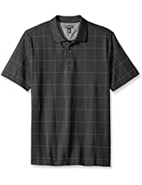 Men's Short Sleeve Printed Windowpane Polo Shirt