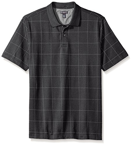 Van Heusen Men's Short Sleeve Printed Windowpane Polo Shirt, New Black, - Polo New Black