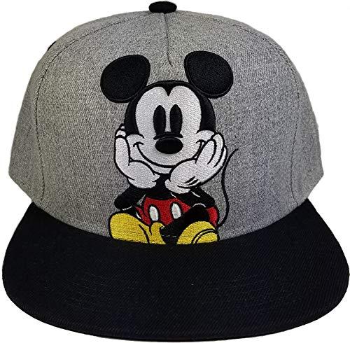 - Fashion Adults Mickey Mouse Adjustable Embroidered Flat Visor Bill Baseball Cap (Grey, Snapback)