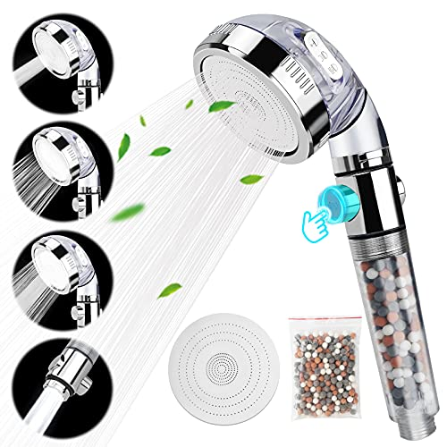 Shower Head, Water-Saving High-Pressure Hand-Held Filter Shower Head, 4-Mode Mineral Shower Head, With Filter Beads And Replacement Panel. Reduce Hair Loss And Dry Skin