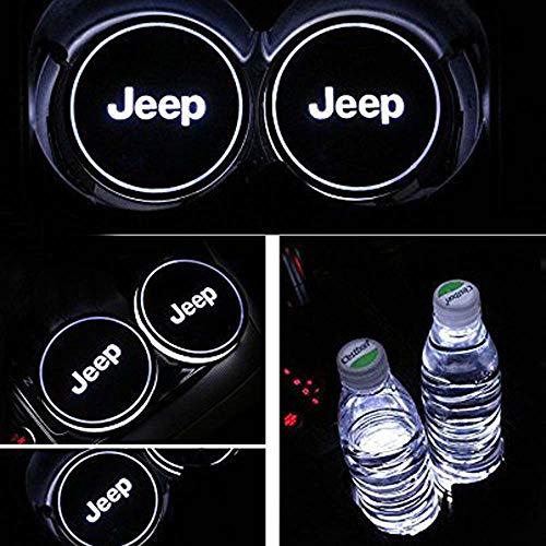 Yuanxi Electronics Car Logo LED Cup Pad, USB Charging Mat Luminescent Cup Pad, Car Logo Coaster with 7 Colors Changing,Luminescent Cup Pad Interior Atmosphere Lamp Decoration Light for Jeep (2 PCS)