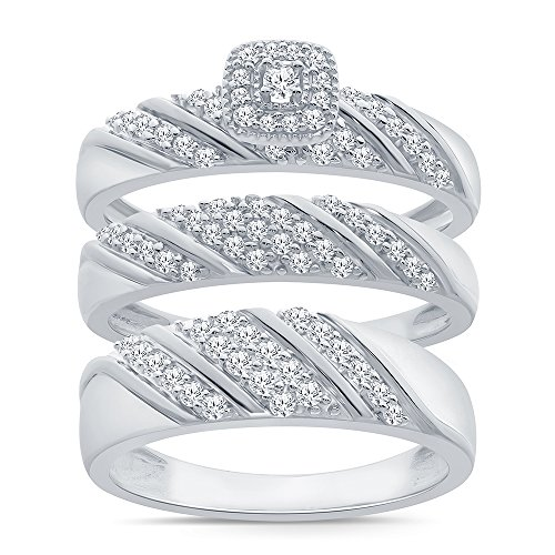 - 3/4ct Simulated Diamond Trio Ring Set in Sterling Silver, Wedding Ring For Him US10 and Her US7