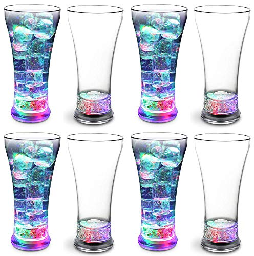 KOVOT Set of 8 LED Party Tumblers 14 Ounce: 3 Light Up Modes: Slow Blink, Running Flash, All On -