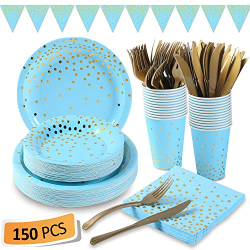 Blue and Gold Party Supplies 150Pcs Golden Dot Disposable Party Dinnerware Includes Paper Plates, Napkins, Knives, Forks, 12oz Cups, Banner, for Baby Shower, Boy Birthday, Serves 25 (Dot Dinnerware Gold)