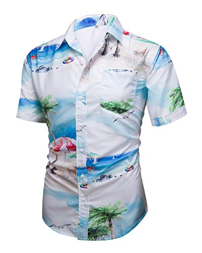 Mens Aloha Hawaiian Short Sleeve Button Down Shirts Tropical Printed Tops