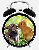 Cute Bunny Rabbits Alarm Desk Clock 3.75'' Home or Office Decor E121 Nice For Gift