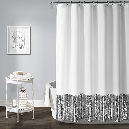 White Silver Stripe - Lush Decor Mermaid Sequins Shower Curtain, 72