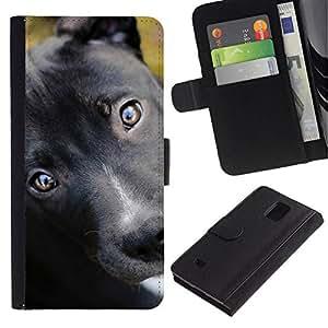 All Phone Most Case / Oferta Especial Cáscara Funda de cuero Monedero Cubierta de proteccion Caso / Wallet Case for Samsung Galaxy Note 4 IV // Pit Bull Terrier Puppy Black Eyes Dog