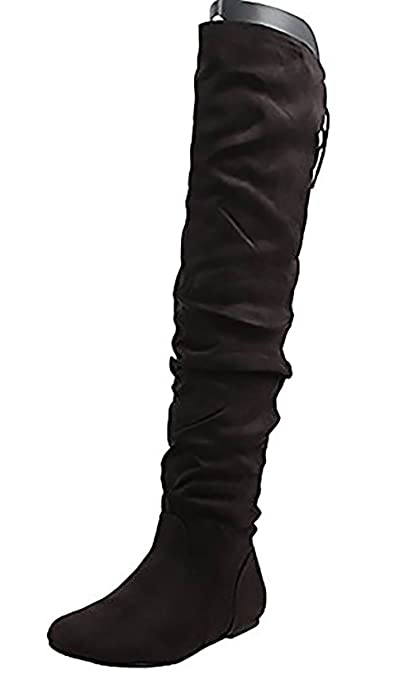 1eaacb2e332d SODA Women s Faux Suede Slouchy Over The Knee Back Tie Flat Dress  Boot