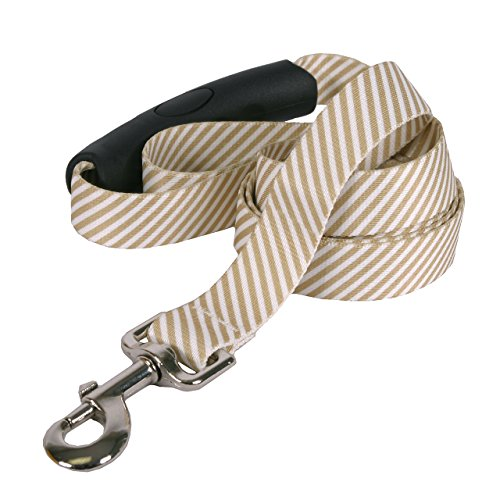 (Yellow Dog Design Southern Dawg Seersucker Brown Dog Leash with Comfort Grip Handle-Medium-3/4 and 5' (60