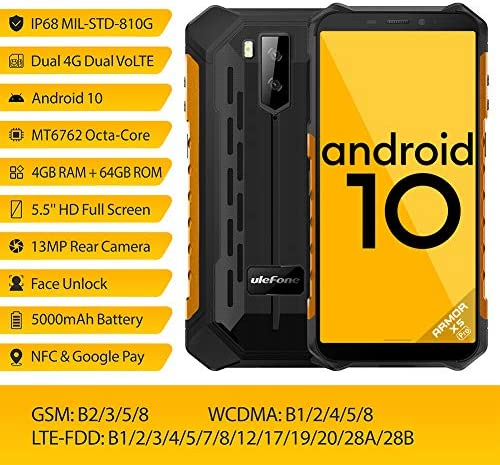Ulefone Armor X5 Pro Rugged Cell Phones Unlocked (2020), 5.5 inch Screen, Android 10, 4GB + 64GB, 13MP + 2MP Dual Rear Cameras, Waterproof, Military Grade Smartphone, Face ID, NFC, OTG, WiFi -Orange WeeklyReviewer