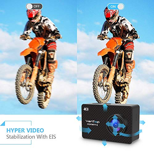 VanTop 4K Action Camera 20MP Moment 4 Underwater Waterproof Camera with EIS, Touch Screen, Remote, 170° Wide Angle WiFi Sports Cam with 2 Batteries and Accessories Kit