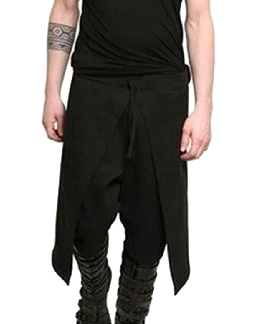 Pluszing Mens Solid Color Hip Hop Baggy Mid Rise Athletic Big and Tall Pants