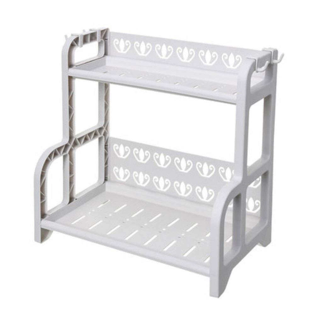Kitchen Multi-layer Plastic Rack Storage Rack Kitchen Storage Rack Floor Storage Rack Double Layer Stable Side Hook Widened Bottom Height Protection 41 25 40.5cm