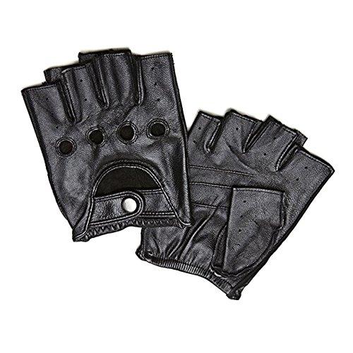 Men's Deerskin Fingerless Half Finger Driving Fitness Motorcycle Cycling Unlined Leather Gloves (L, black)