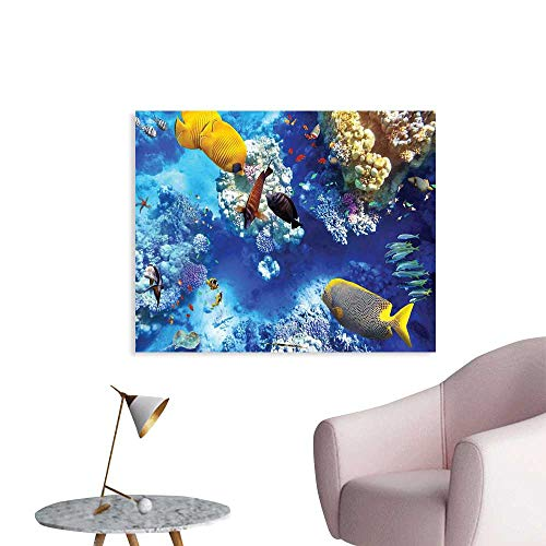 J Chief Sky Ocean Wallpaper Sticker Wild Underwater Sea Animal Aqua World Corals Tropical Fishes and Stingray Personalized Wall Decals W20 xL16