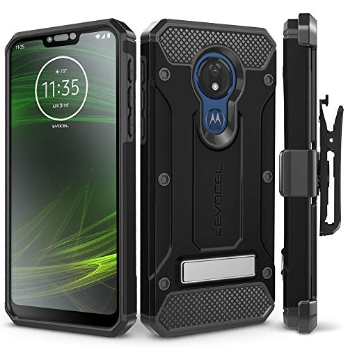 Motorola Moto G7 Power Case, Evocel [Explorer Series Pro] Premium Full Body Case with Glass Screen Protector, Belt Clip Holster, Metal Kickstand for Motorola Moto G7 Power (XT1955), Black