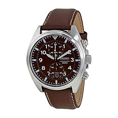 Seiko Men's SNN241 Stainless Steel Watch with Brown Leather Band from Seiko