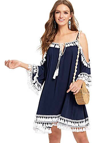Milumia Women's Summer Cold Shoulder Crochet Lace Sleeve Loose Beach Dress X-Large Navy-1