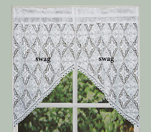 Creative Linens Knitted Crochet Lace Kitchen Curtain 38