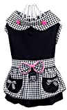 ZeroTone Dog Dress Leash Ring, Plaid Maid Style Dog Costume Small Dog Cat Black #2