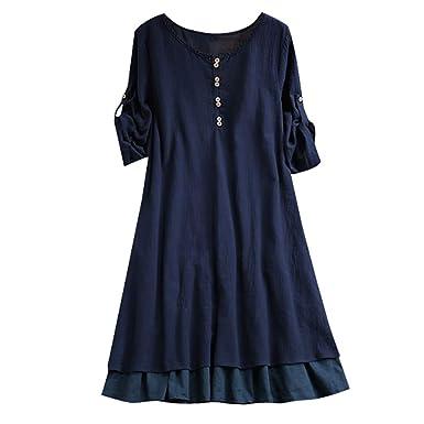 c179c60b5b Robe ADESHOP Mode Grande Taille Femmes Col Rond Couleur Unie Bouton Les  Loisirs LâChe Chemise Jupe