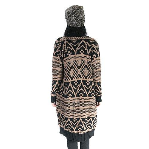 Republica1946 Abrigo de lana de mujer, fantasía étnica, mangas largas. RPDIK02 Negro beige