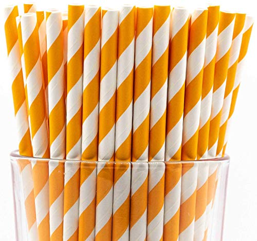 Pack of 150 Biodegradable Orange Swirls Paper Drinking Straws (Compostable, Non-toxic, -