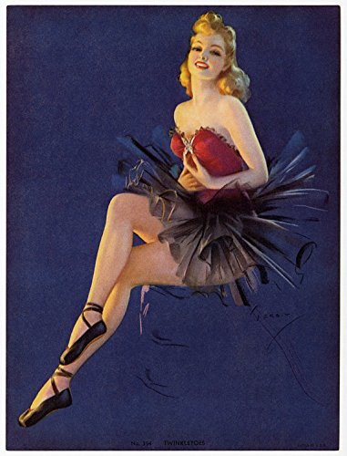 Vintage Original 1940s Pin-Up Print Lithograph by Jules Erbit Featuring a Gorgeous Art Deco Ballerina Beauty Titled Twinkle Toes