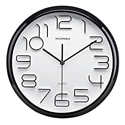 Woophen 13 Inch Easy to Read Large Numbers Wall Clock, Silent Non Ticking Quality Quartz Battery Operated, Good for Home/Office/School Clock (Black)