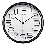 Cheap WOOPHEN 13 Inch Large Wall Clock, Non-Ticking Silent Quartz Decorative Clocks, Battery Operated, Big 3D Number Display. Good Home/Office/School Clock (Black)