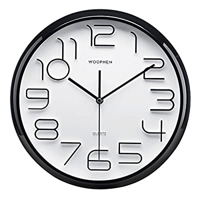 """WOOPHEN 13"""" Inch Easy to Read Large Numbers Wall Clock, Silent Non Ticking Quality Quartz Battery Operated, Good for Home/Office/School Clock (Black) - Large 3D numbers and bright PVC face make it clear and good for the elderly and poor eyesight to watch. Non ticking and Quiet sweep second hand, high-quality movement ensure a good sleeping or working environment Easy To Hang - Back nail slot make the installation is easily. Easy to fix with provided hanger. Simply press in and will not damaged wall. - wall-clocks, living-room-decor, living-room - 51MKjvupbyL. SS400  -"""