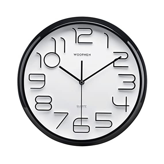 "WOOPHEN 13"" Inch Easy to Read Large Numbers Wall Clock, Silent Non Ticking Quality Quartz Battery Operated, Good for Home/Office(Black) -  - wall-clocks, living-room-decor, living-room - 51MKjvupbyL. SS570  -"
