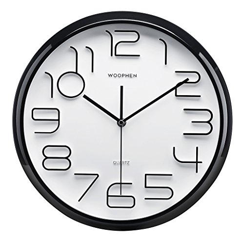 "51MKjvupbyL - Woophen 13"" Inch Easy to Read Large Numbers Wall Clock, Silent Non Ticking Quality Quartz Battery Operated, Good for Home/Office/School Clock (Black)"