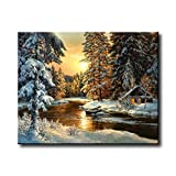 Shukqueen Diy Oil Painting, Adult's Paint by Number Kits, Acrylic Painting-Snow Cabin in the Sunset 16X20 Inch (Frameless)