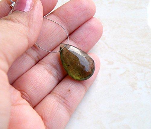 Moss Aquamarine Gemstone Briolette Green Faceted Teardrop 21.5mm 1 Bead Focal (Gemstone Briolette Teardrop)
